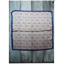 Pañuelo De Seda Flamencos Aves Tropical Oriental Azul Rosa Bufanda Mujer Cuello