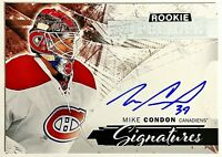 2015-16 UD Premier Mike Condon On-Card Auto RC Canadiens Senators Princeton