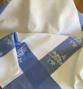 Australiana Pattered Damask Tablecloth - Edged in Blue with Koalas in a Tree