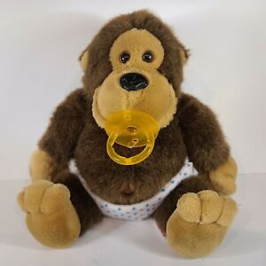 "Dakin Baby Boy Gorilla Ape Plush w/ Pacifier & Diaper 10"" Vintage 1986 VHTF"