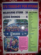 Melbourne Storm 38 Leeds Rhinos 4 - 2018 World Club Challenge - souvenir print