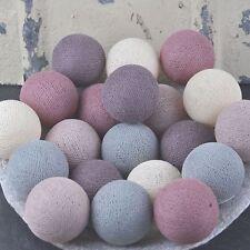 20er Lichterkette Bälle Baumwolle Grau Mauve Shell Cotton ball lights auch LED