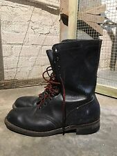 VINTAGE  Black 60's-70's Leather US ARMY Lace Up Combat Military Boots MENS 8.5