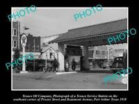 OLD POSTCARD SIZE PHOTO OF TEXACO OIL Co SERVICE STATION PORT ARTHUR 1938