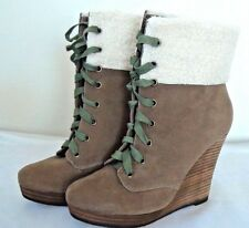NEW Restricted Women US 6.5 Brown/Green Wedge Heel Boots Lace Up