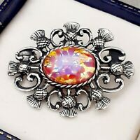 Vintage Gold & Rose Pink Glass Fire Opal - Scottish Thistle Celtic Brooch Pin