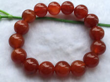 beads Bracelet 7.5 Inch A Natural 12mm light red agate round