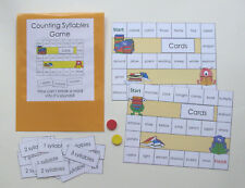Teacher Made Literacy Center Education Resource Game Counting Syllables