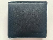 NWT Coach Men's Leather Coin Sport Calf Wallet Black F75003