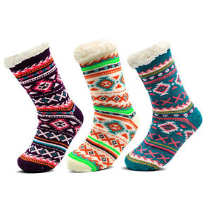 Womens 4.7 Tog Fleece Thermal Snowflake Heart Gripper Slipper Warm Bed Socks 4-7