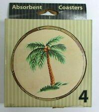 Absorbent Coasters Nature Stone Palm Tree Set of 4 Natural Cork Back Made In USA