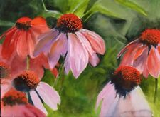 CONE FLOWERS  Watercolor Original Painting (9 X12)