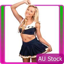Ladies Navy Blue Cheerleader Costume Uniform School Girl Costume Fancy Dress