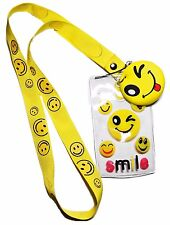 Smiley Faces Yellow LANYARD w/ID Holder and Charm Keychain