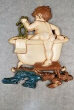 Vintage Sexton 1970 Little Boy With Frog Bath in Claw Foot Tub Cast Metal Wall