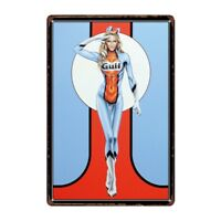 Metal Tin Sign gulf sexy lady races Bar Pub Home Vintage Retro Poster Cafe ART