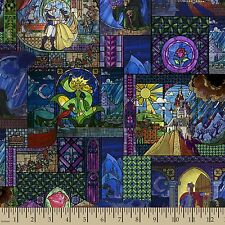 Disney Beauty & The Beast Stained Glass 100% Cotton fabric by the yard IN STOCK