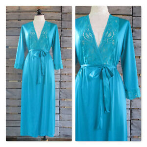Samantha Scott Green Lace Bodice Dressing Gown Robe Vintage Lingerie 2/4 Petite