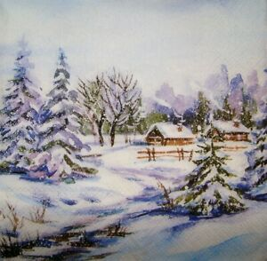 4 x Single Paper Napkins Decoupage and Craft Winter 318