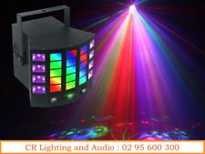 DERBY4-in-1 Lighting Effect: Gobo Derby, UV, Strobe and RG mini laser IR Remote