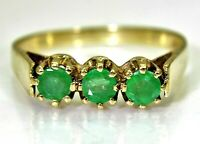 Natural Emerald Trilogy 9ct Yellow Gold Ring size N ~ 6 3/4