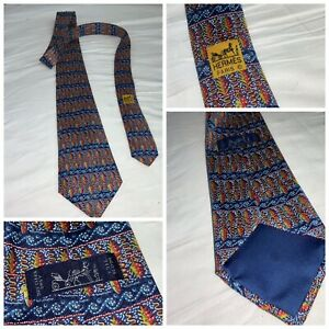 """Hermes Paris Necktie Blue Pinecones Silk 3 5/8"""" Wide 56"""" Long Mint YGI J0-206"""