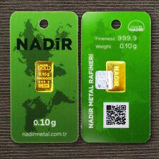 GOLDBARREN 0,10 Gramm NADIR LBMA 999,9 Gold Barren 0,1g 0,10g zertifiziert NEU!!