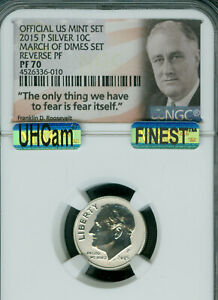 2015-P ROOSEVELT MARCH OF DIME NGC REVERSE PROOF PF-70 UHCAM MAC FINEST SPOTLESS
