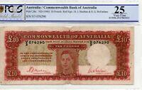 1940 Aust 10 Pound Banknote Sheehan/McFarlane First Prefix Very Fine 25 V3076290