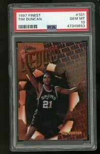 Tim Duncan 1997-98 Topps Finest Spurs RC Rookie 🔥🔥 PSA 10 GEM MINT 🔥🔥