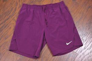 """Nike Dri-Fit Court Flex Ace 9"""" Tennis Shorts Purple Men's Large L"""