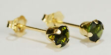 BEENJEWELED ROUND GENUINE NATURAL MINED GREEN TOURMALINE EARRINGS~14 KT GOLD~4MM