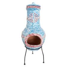 Blue Clay Chimenea Clay Chiminea Patio Heater Fire Bowl Fire Pit Garden Heater