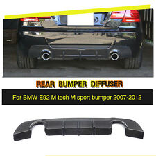 Carbon Fiber Rear Diffuser Lip Fit for BMW E92 M Tech M Sport Bumper 2007-2012