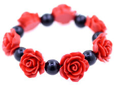 Red Lacquer Rose and black bead stretch bracelet