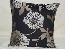 "16"" BLACK FLORAL CUSHION COVER MADE WITH  DUNELM 'MIRIAM BLACK' FABRIC--"