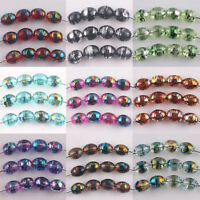 50/100Pcs Gold-Plated Wire Olive Shape Crystal Glass Loose Spacer Beads 6x8mm