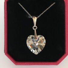 Swarovski Elements 925 Silver Crystal Heart Necklace 18mm Pendant Jewellery Gift