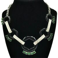 Banana Republic Art Deco Necklace Green Black Silver Crystals Stunning 16-18""
