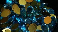 VINTAGE 8x6MM  AQUAMARINE FACETED TOP GLASS CABOCHONS