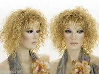 Arty Medium Curly Layered Blonde Brunette Red Grey Wigs Soft Straight Bangs