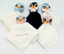 Personalised Face cloth towel with Soft Penguin Birthday Christmas gift present