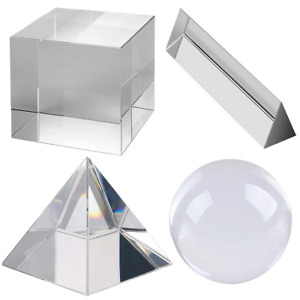 Optical Crystal Prism Photography Set 4 Pack K9 Glass Prisms for Science  50 mm