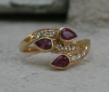 Bague or jaune 18 carats rubis et diamants