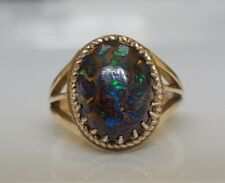 9k solid gold ring with solid boulder opal 5.43g size N