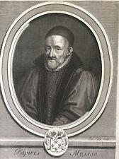 Jean-Papire Masson 1544-1614 estampe originale de Jacques Lubin XVIIe historien