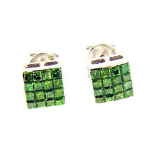 0.75 Ct White Gold Princess Cut Green Diamond Stud Earrings 14 Kt
