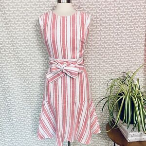 NEW J. Crew Belted Dress in Linen Ivory Coral Lightweight Striped Peplum Size 2