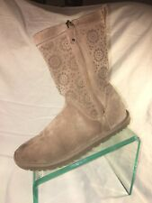 UGG Australia Laser Cut Tan Leather Boots Zip Sherpa Perforated Size 8 RARE