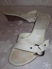 CHRISTIAN DIOR Womens WHITE CD LEATHER Wedge SANDALS Shoes 39.5 9.5 ITALY